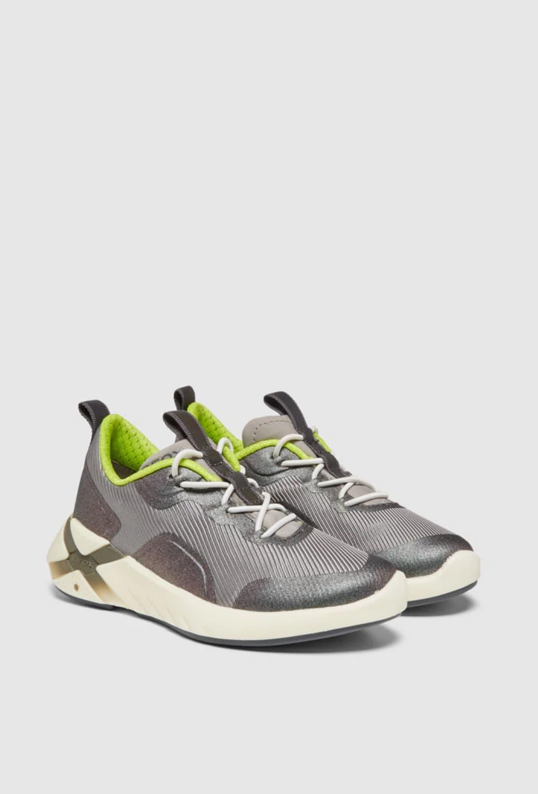 Zapatillas deportivas de niño Geox de color plata con cordones