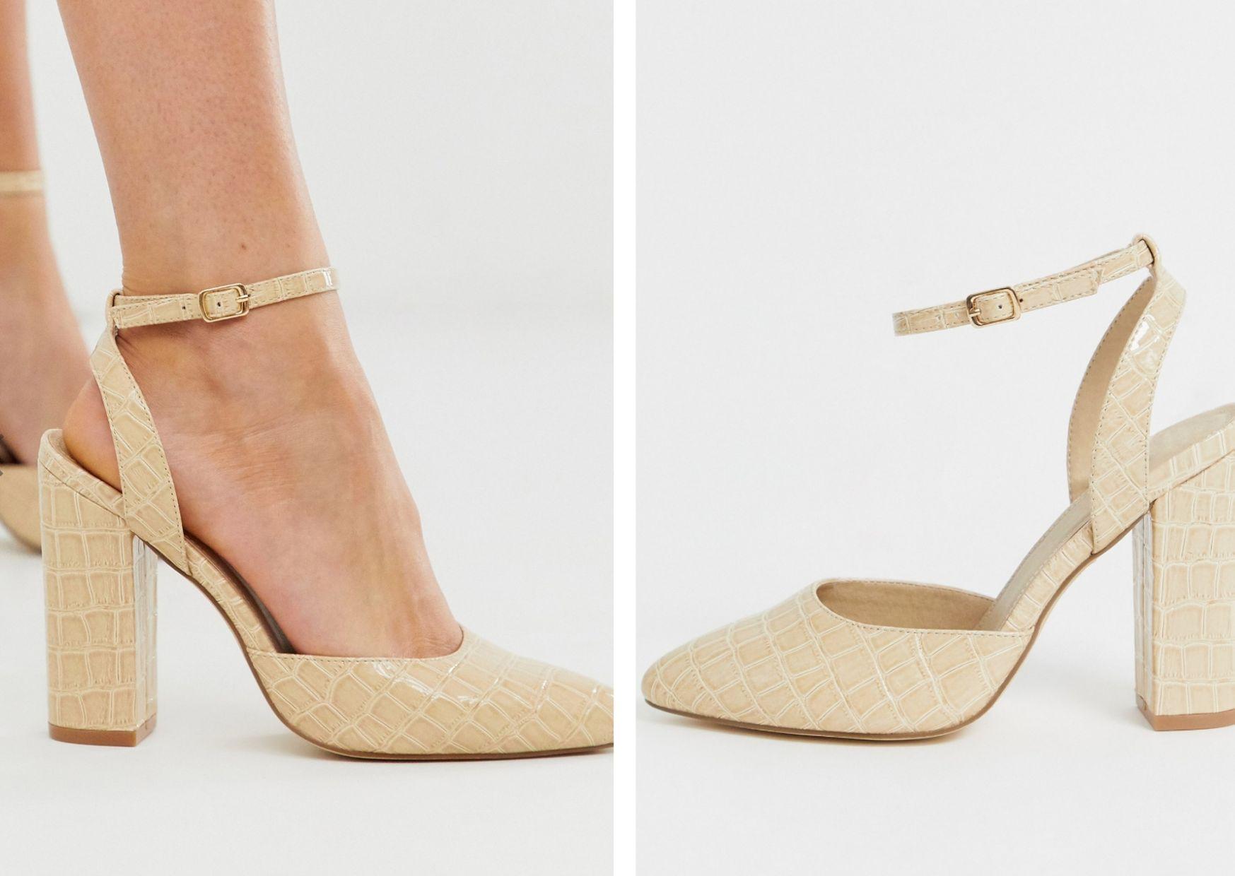 Zapatos de tacón cuadrado en beis con diseño de cocodrilo y puntera en punta de Truffle Collection