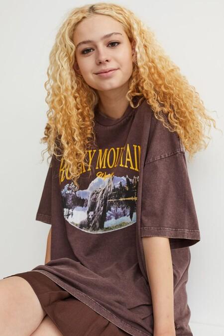 Camiseta Oversize Con Motivo