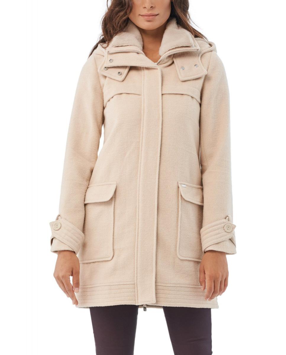 Abrigo largo de mujer en color natural con lana