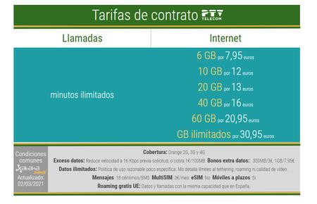 Nuevas Tarifas Moviles De Contrato Ptv Telecom En Marzo De 2021