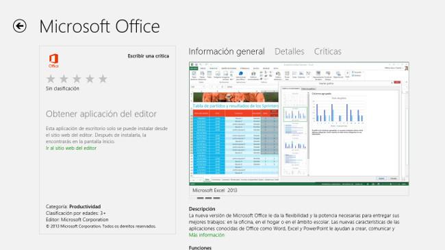 Office 2013 en Windows Store