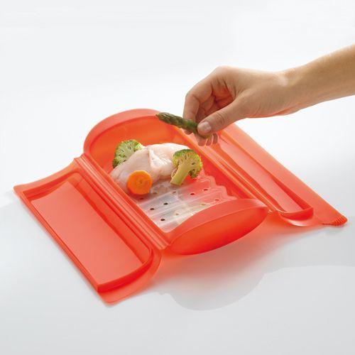Cocinar al vapor en microondas sano f cil y r pido - Recipientes de silicona para cocinar al vapor ...