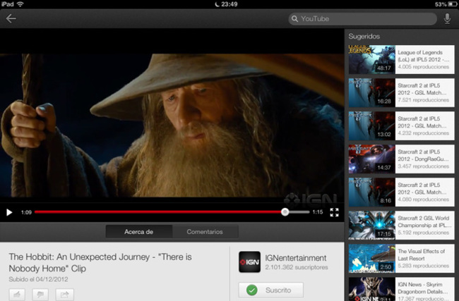 YouTube en iPad