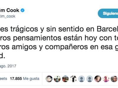 Tim Cook envía un mensaje de apoyo tras el atentado terrorista de Barcelona
