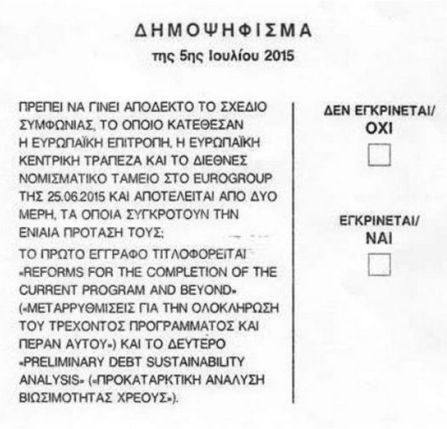 Grecia: la pregunta en el referendum