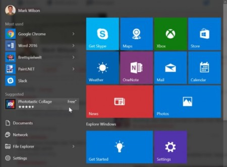 Start Menu Sugested App 600x443