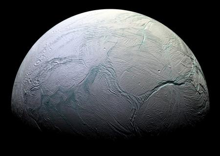 Cassini Enceladus Halflit Jpg Crop Original Original