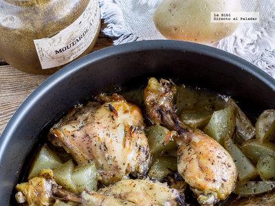 Pollo al horno con  mostaza y miel. Receta fácil