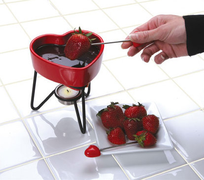 mini fondue fresas chocolate corazon