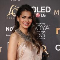 Premios Goya 2019: Sara Sálamo presume de tripita en la alfombra roja con un sencillo Pronovias