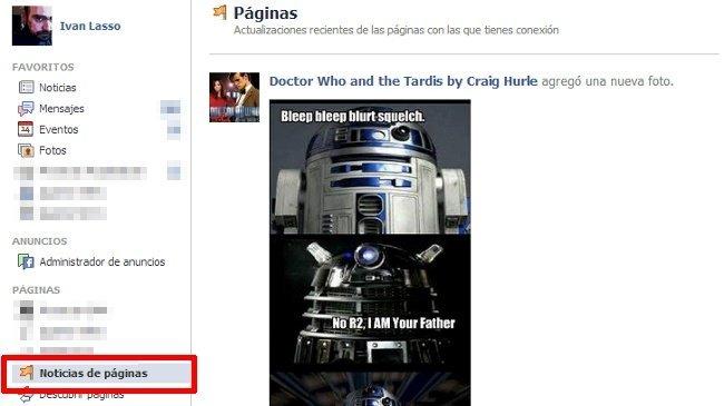 """Facebook implementa oficialmente el feed para páginas: """"Noticias de páginas"""""""