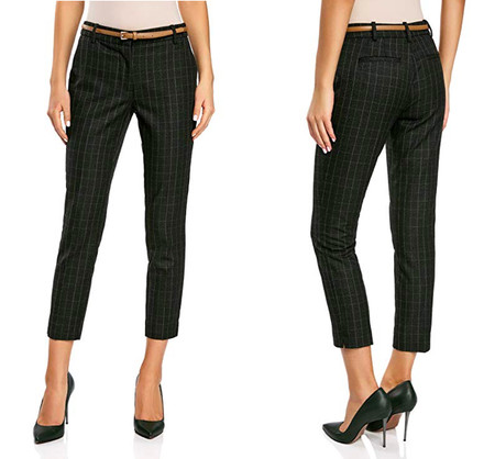 Pantalon Cuadros Mujer amazon oficina