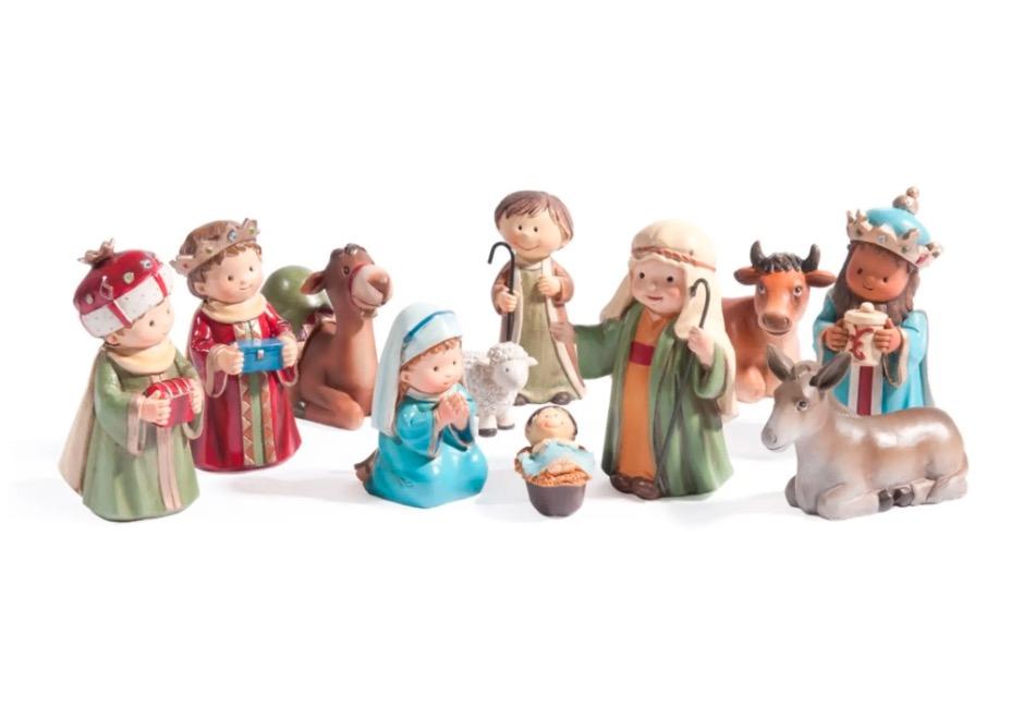 Personajes de pesebre navideño Enfants (11 piezas)