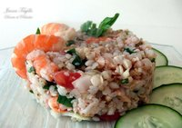 Ensalada de trigo sarraceno con atún y gambas