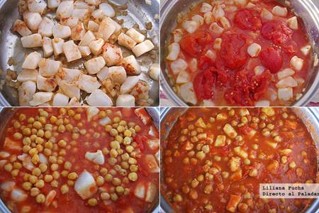 Guiso de pota y garbanzos con tomate. Pasos de la receta