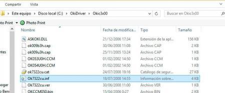 oki fichero inf controlador