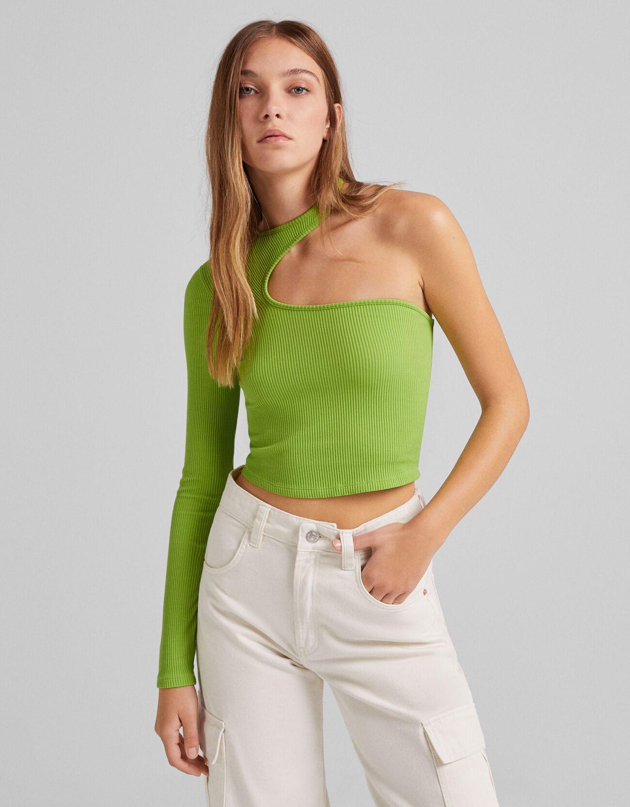 Camiseta asimétrica manga larga rib