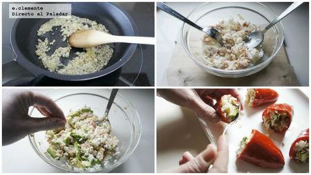Pimientos del Piquillo rellenos de arroz, atún y aguacate