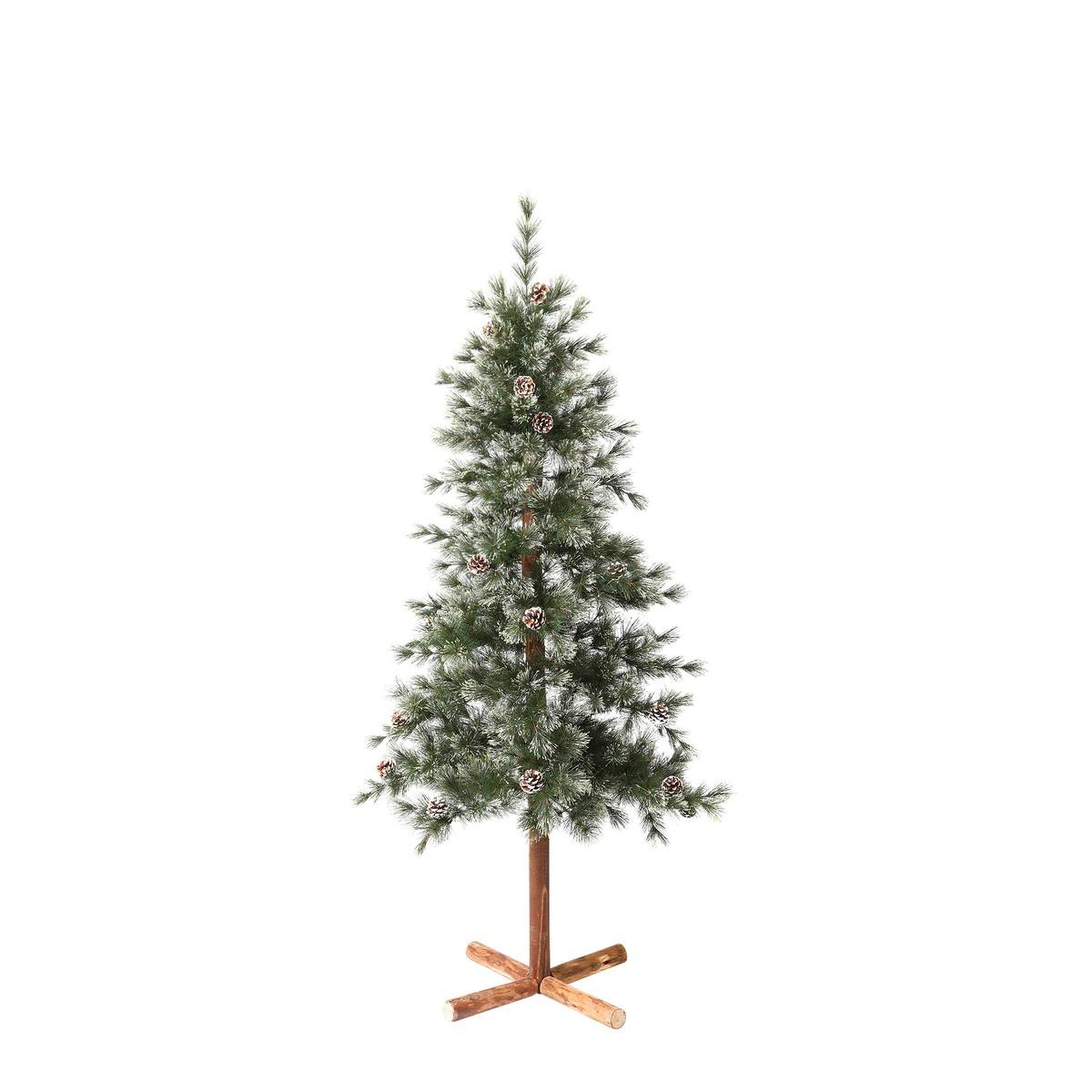 Árbol de suelo Formigal con piñas decorativas y tronco de madera Navidad