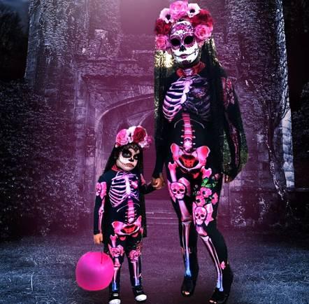 Disfraz de Halloween para niños mujeres disfraces para adultos niños terrorífico diablo de los muertos mono estampado de esqueleto rosa carnaval fiesta.