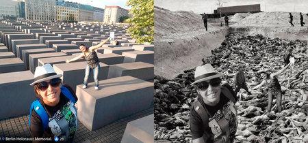 Este artista convierte las selfies en el memorial del Holocausto de Berlín en selfies en Auschwitz