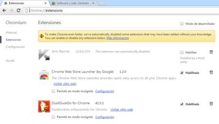 Chrome bloqueará extensiones instaladas sin nuestro consentimiento