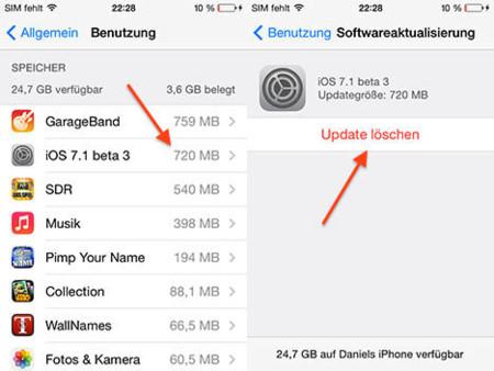 iOS 7.1 beta 3 nos permite eliminar los archivos temporales de las actualizaciones descargadas
