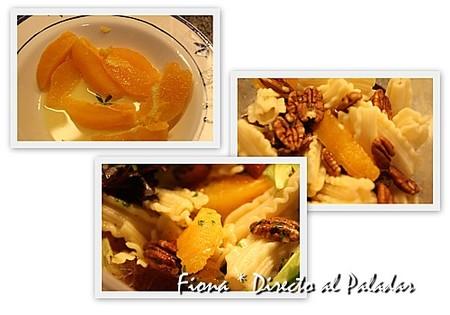 Ensalada de pasta, naranja y nuez de pecán