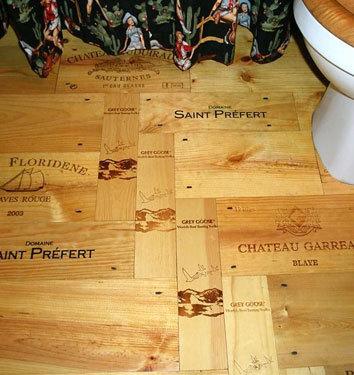Parquet con cajas de vino