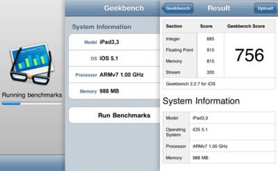 Los primeros test confirman que el nuevo iPad tiene 1GB de RAM, mantiene la misma CPU a 1GHz y duplica el rendimiento gráfico
