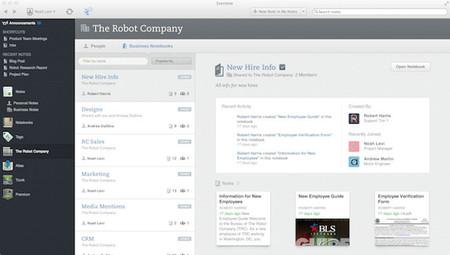 Evernote renueva su versión para empresas