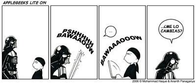 Darth Vader contra el MacSaber