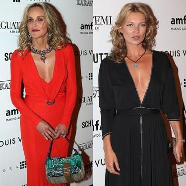 Duelo de escotazos: Sharon Stone contra Kate Moss en la Gala amfAR de Sao Paulo