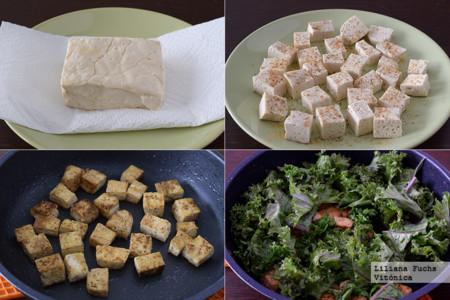 Salteado rápido de tofu y kale con sésamo. Receta saludable. Pasos