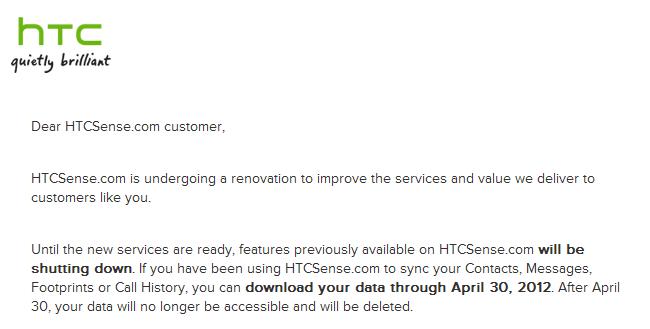 HTC Sense.com cierra
