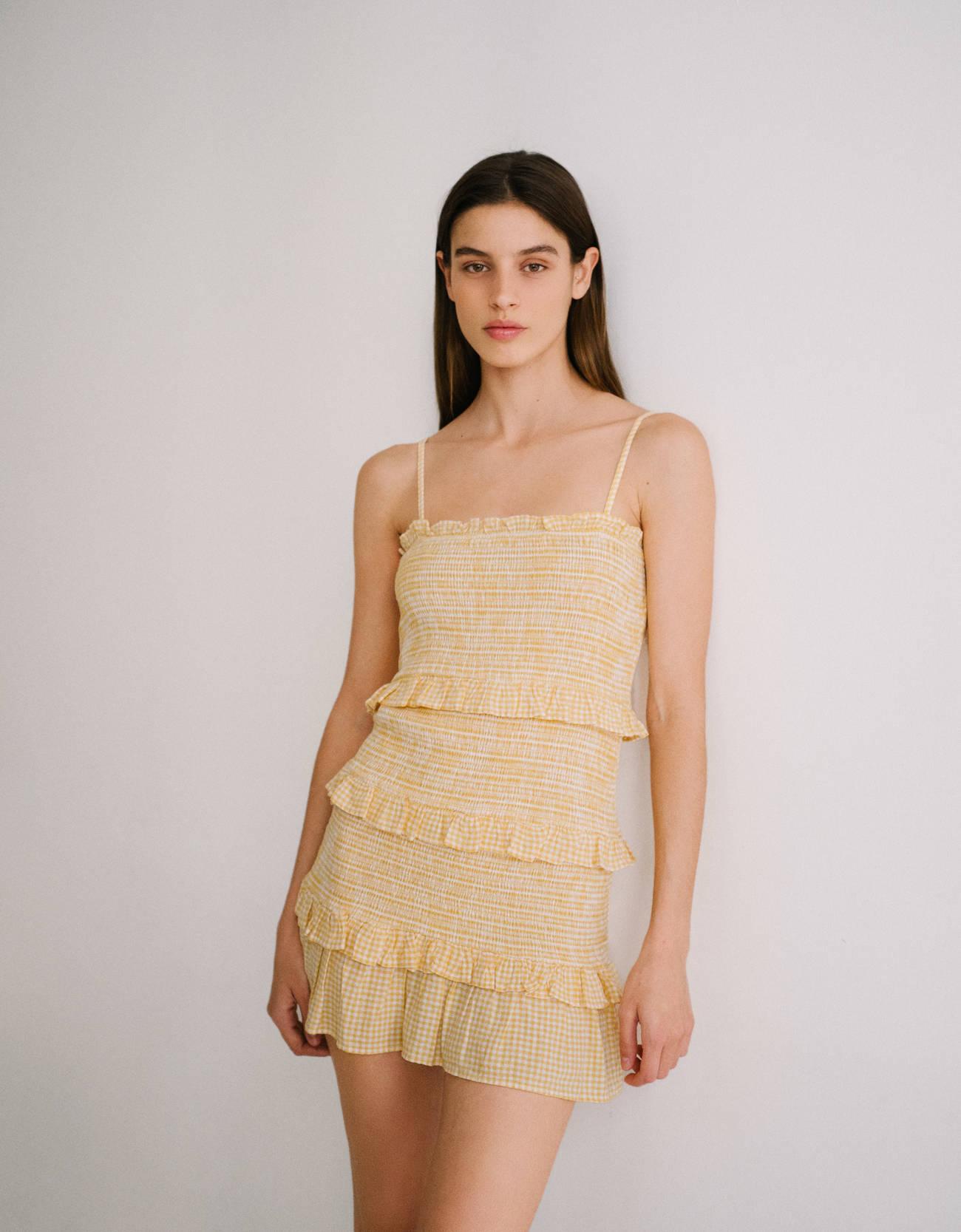Mini vestido ajustado de cuadros vichy