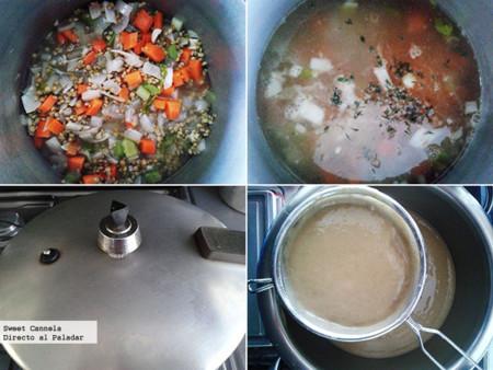 Preparación sopa de lentejas