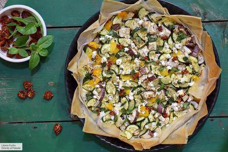 Tarta de calabacín, berenjena y tomate con pasta brick