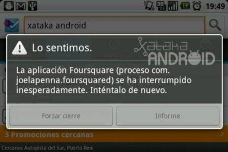 Screen de un Force Close en Android