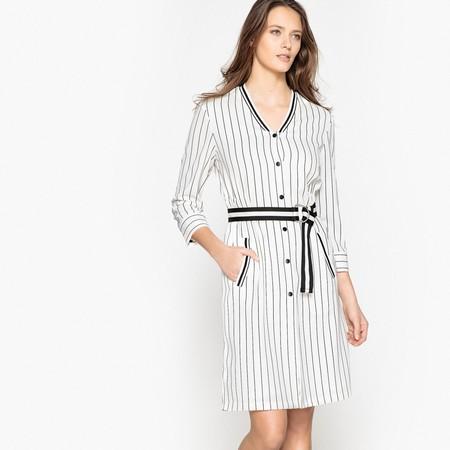 50% de descuento en este vestido estilo béisbol a rayas y abotonado en La Redoute: ahora cuesta 31,49 euros con envío gratis