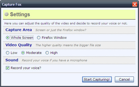 Capture Fox, haciendo screencasts desde Firefox