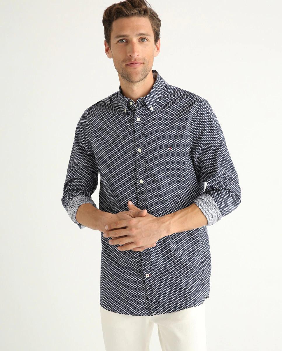 Camisa de hombre slim dibujo geométrico de manga larga azul marino