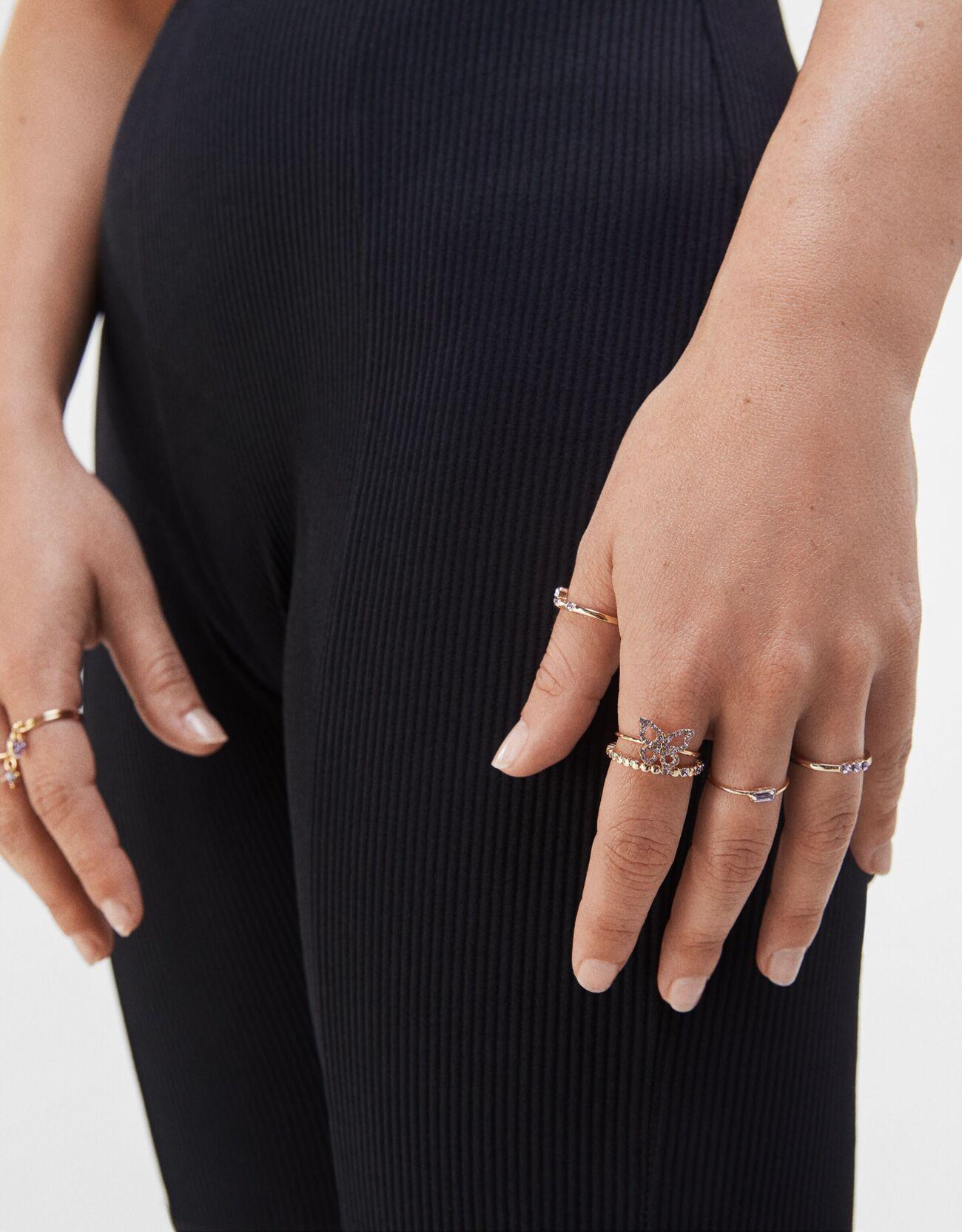 Colección de nueve anillos mini con brillantes y mariposas