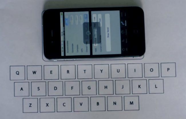 Teclado en iPhone con acelerómetros