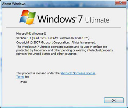 Windows 7 About