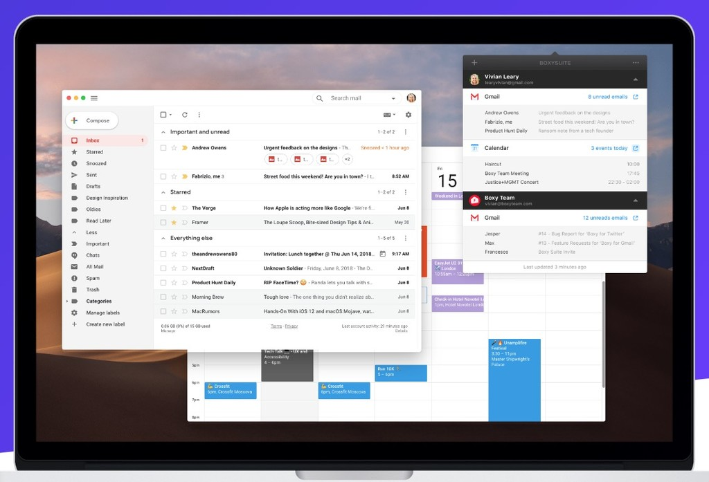 Boxy se convierte en alguna suite para los amantes de los servicios de Google™ y macOS