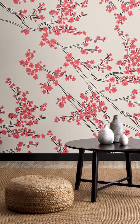 Papel Pintado Con Motivo De Rama De Flores De Cerezo Japonesas Lifestyle Darker Web