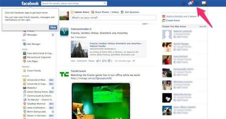 Facebook prueba un diseño con las notificaciones a la derecha de la página... junto a los anuncios