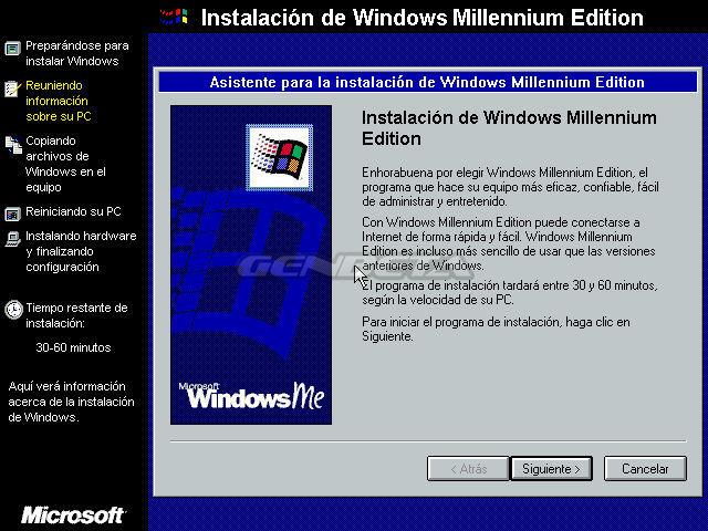 Foto de programa de instalación de Windows ME (1/4)